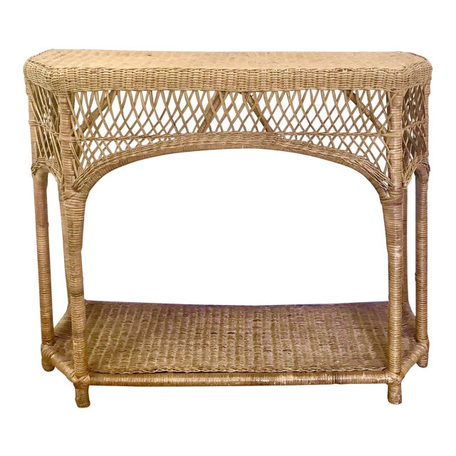 Superb Vintage Wicker Rattan Console Table Ibusinesslaw Wood Chair Design Ideas Ibusinesslaworg
