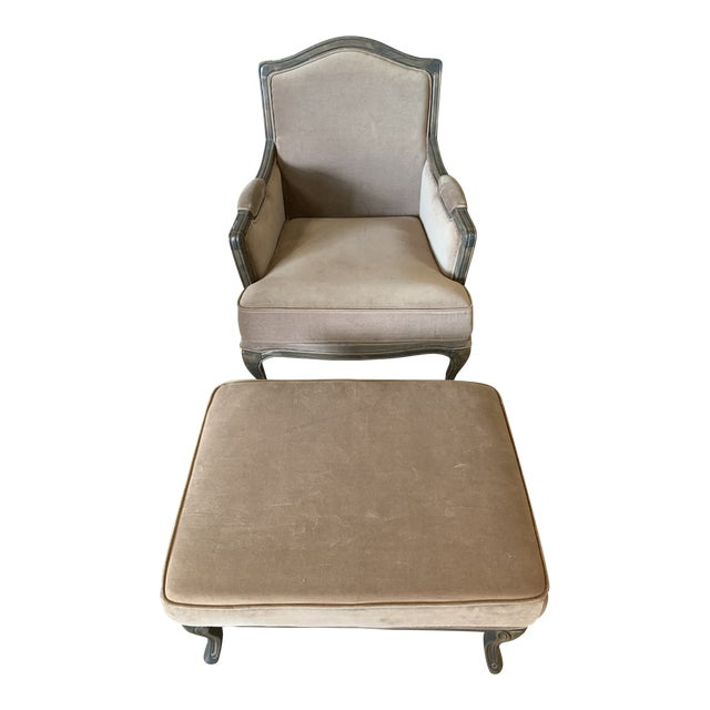 Transitional Style Lucille Club Chair & Ottoman For Sale