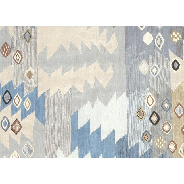 Contemporary Egyptian Kilim. Hand woven in modern Scandinavian designs with wool on cotton foundation in the Fustat region...