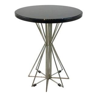 Black Granite and Silk Nickel Kincaid Co. Geometric Side Table For Sale