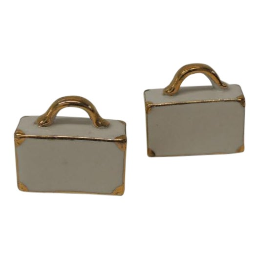 Pair of White and Gold Bisque Porcelain Trendy Handbags Salt & Pepper Shakers For Sale