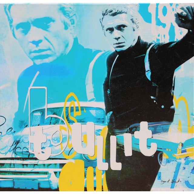"""Steve McQueen - Bullit"" Screenprint on Canvas by Dganit Blechner For Sale In New York - Image 6 of 6"