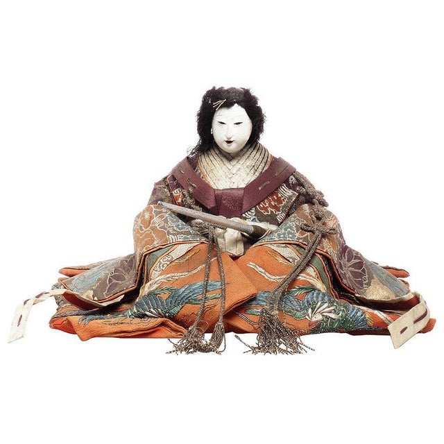 Asian Japanese Taisho Doll with Silk Clothing and Powdered Face, Early 20th Century For Sale - Image 3 of 3