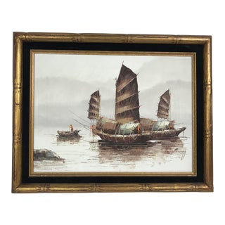 1970s Vintage P. Wong Oil on Canvas Painting For Sale