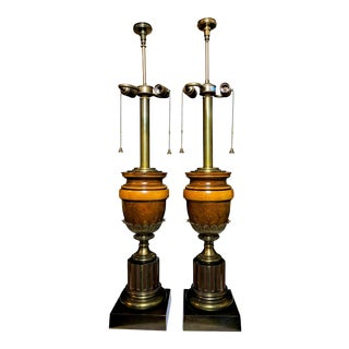 A Neoclassical Brass and Wood Table Lamps - a Pair For Sale