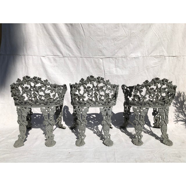 Traditional 19th Century Victorian Cast Iron Garden Chairs - Set of 3 For Sale - Image 3 of 4