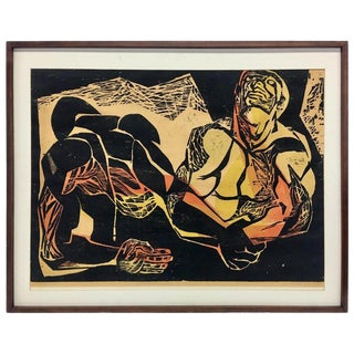 """Framed Color Woodcut """"The Pathways of the Soul"""" by Joe Elliott For Sale"""