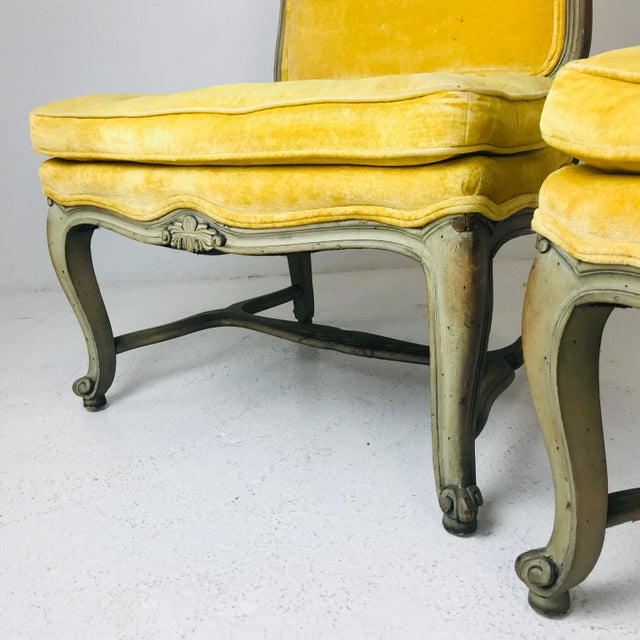 1980s Pair French Slipper Chairs For Sale - Image 5 of 6