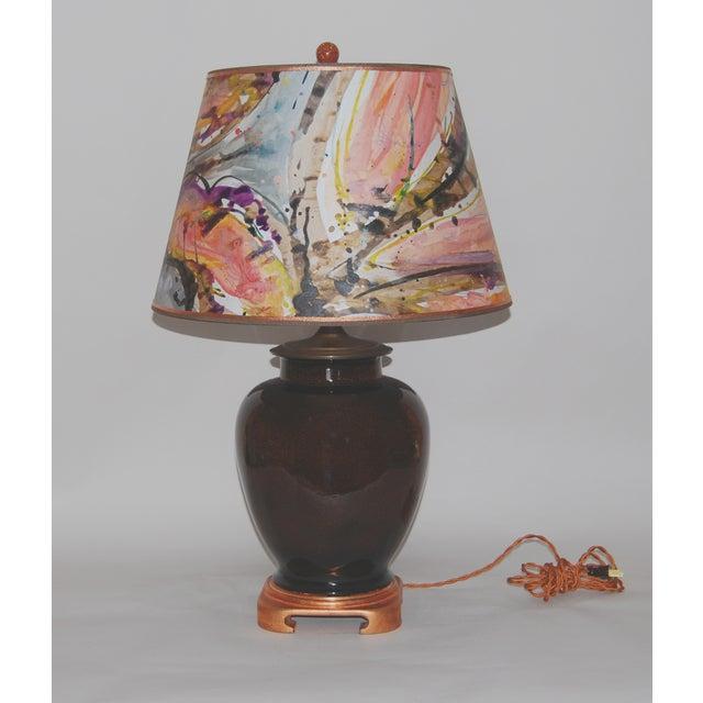 Tortoise Glaze Lamp W/Hand Painted Lampshade - Image 2 of 5