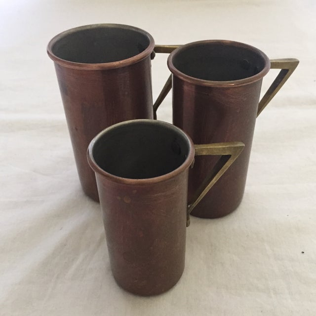 Art Deco Art Deco Copper & Brass Measuring Cups - Set of 3 For Sale - Image 3 of 4