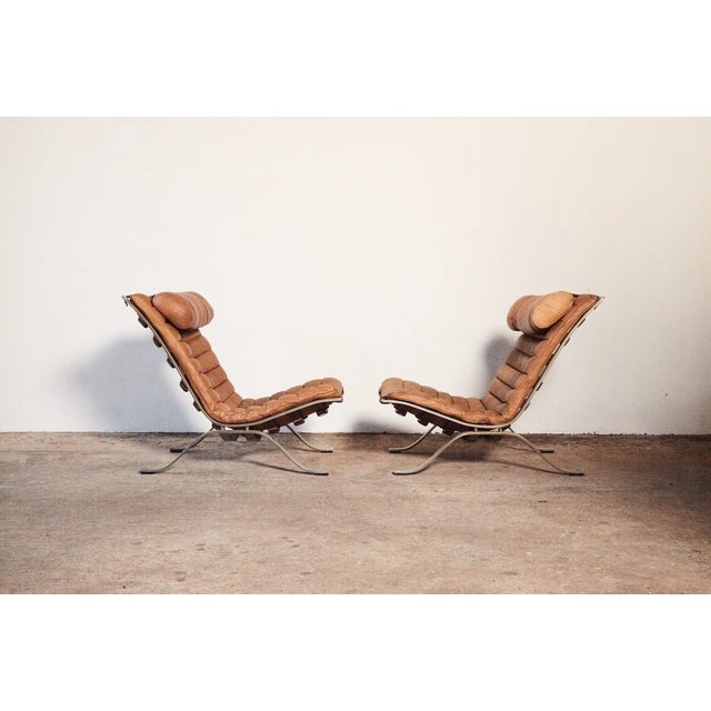 Arne Norell Pair of Arne Norell Tan Leather Ari Chairs, Norell Mobler, Sweden, 1970s For Sale - Image 4 of 11