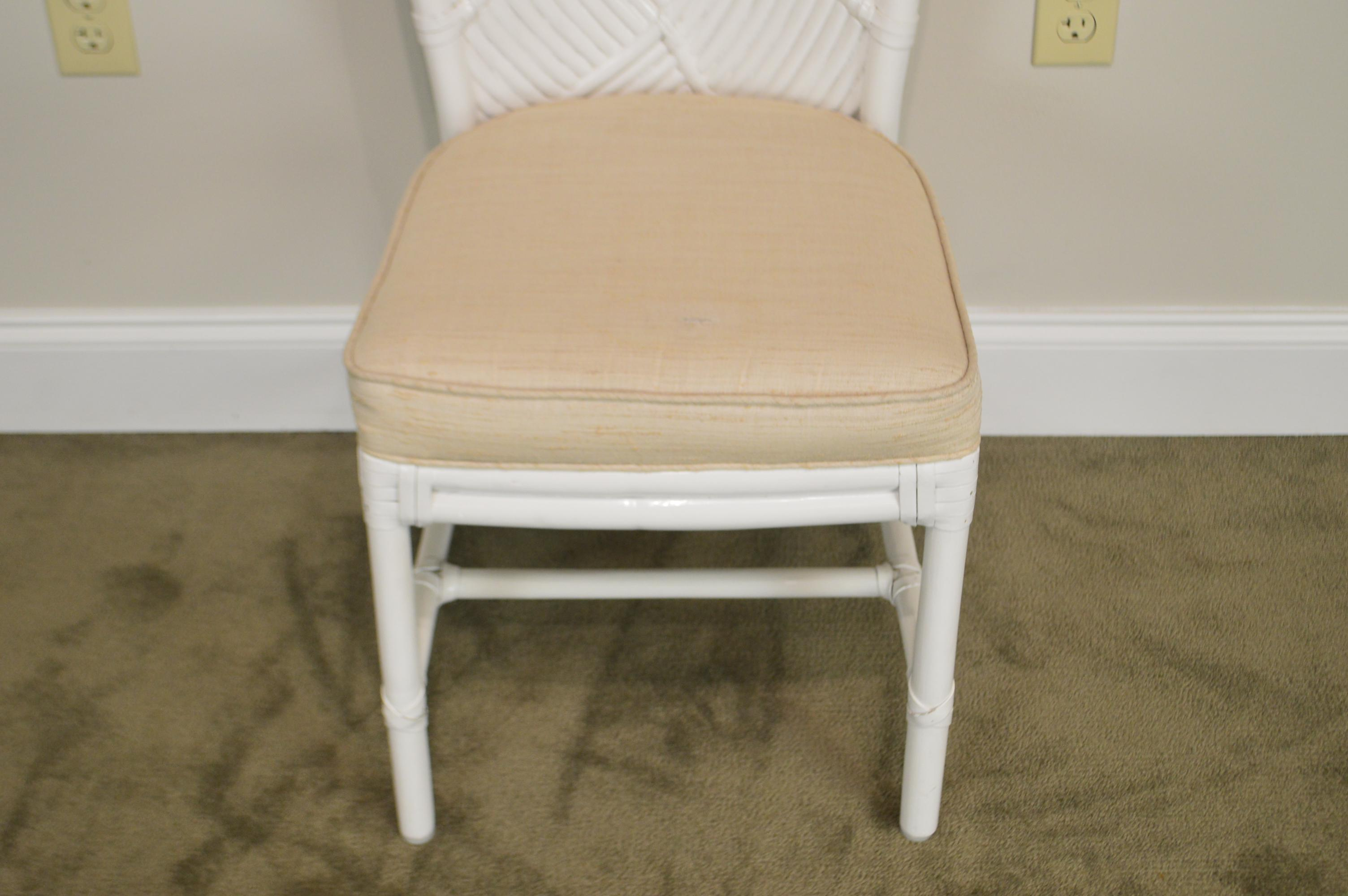 Paint McGuire Of San Francisco Vintage White Painted Rattan Set Of 4 Dining  Chairs For Sale