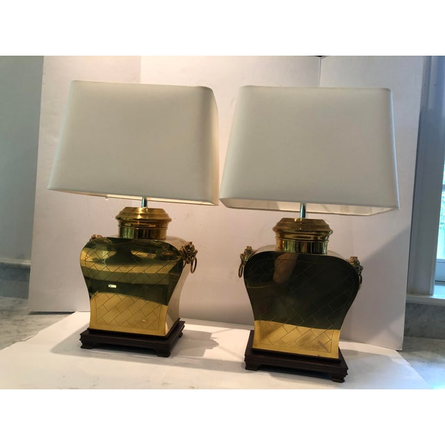 Vintage 1980s Etched Brass Lamps With Shades - a Pair For Sale - Image 13 of 13