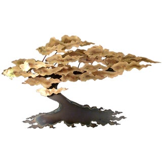 Signed Ross Metal Wall Tree Sculpture For Sale