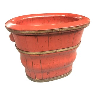 Late 20th Century Vintage Red Bird Bath For Sale
