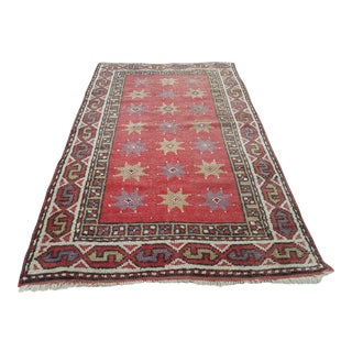 "Handknotted Red Turkish Oushak Rug - 2'4"" X 3'9"" For Sale"