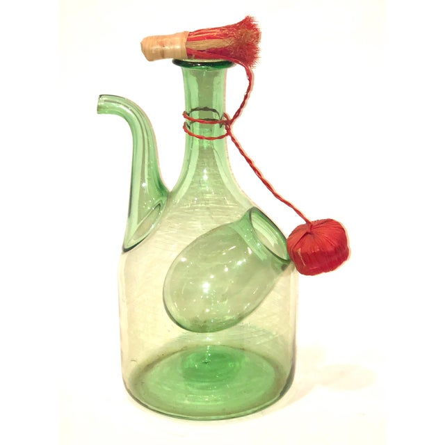 Green Blown Glass Wine Jug with Ice Bubble For Sale - Image 4 of 4