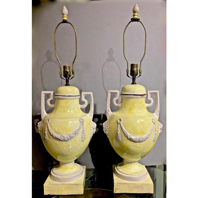 Pair Italian Glazed Terra Cotta Urn Lamps, C. 1960 For Sale - Image 12 of 12
