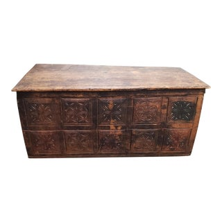 18th Century European Carved Pine Trunk For Sale