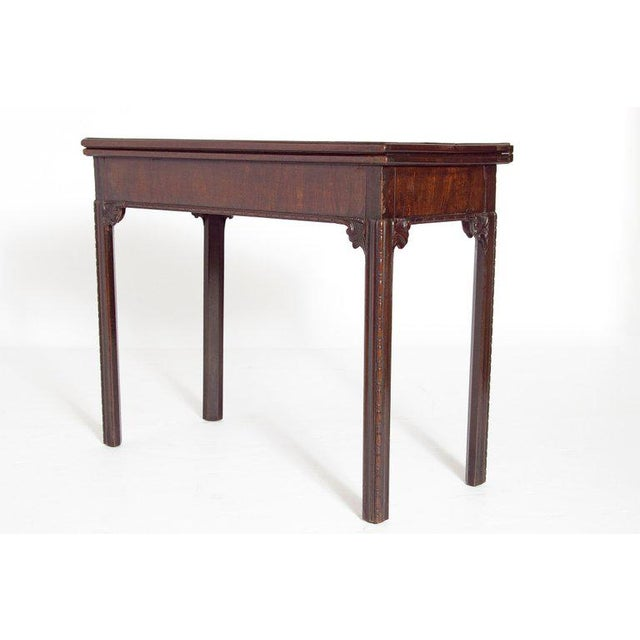 Georgian 18th Century George III Mahogany Concertina Action Card Table For Sale - Image 3 of 13