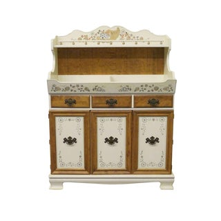 20th Century Traditional Ethan Allen Decorated Hitchcock Style Dry Sink Cupboard For Sale