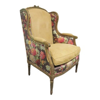19th C Louis XVI Style Gilt Carved Wing Chair For Sale