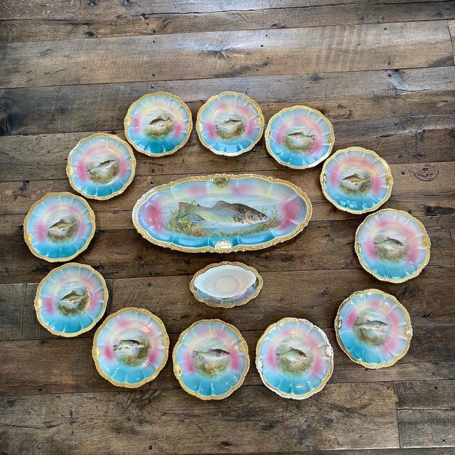 German Porcelain Handpainted Gold Gilt Fish Serving Set -Set of 15 For Sale - Image 13 of 13