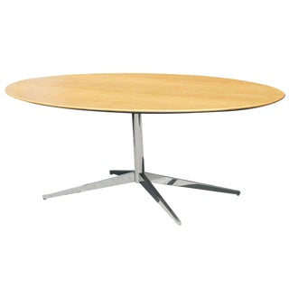 Florence Knoll Oak and Re-Chromed Bronze Base Dining Table / Desk For Sale