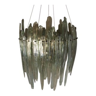 Iridescent Teal Smoked Long Leaf Chandelier For Sale
