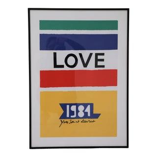 """1984 Yves Saint Laurent Framed """"Love"""" Poster For Sale"""