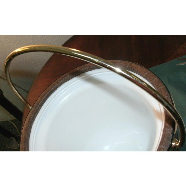 Mid 20th Century Mid 20th Century Faux Wood Grain & Gold Kraftware Ice Bucket For Sale - Image 5 of 10