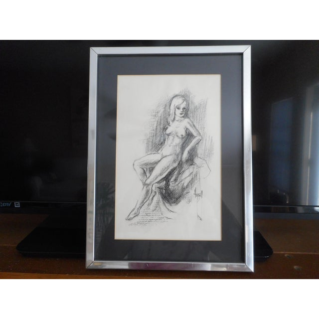 Vintage Charcoal Female Nude Drawing For Sale In Tampa - Image 6 of 6