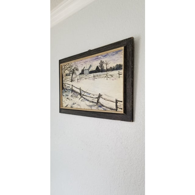 1970 Vintage Snowscaped Oil Painting , Signed . For Sale - Image 4 of 12