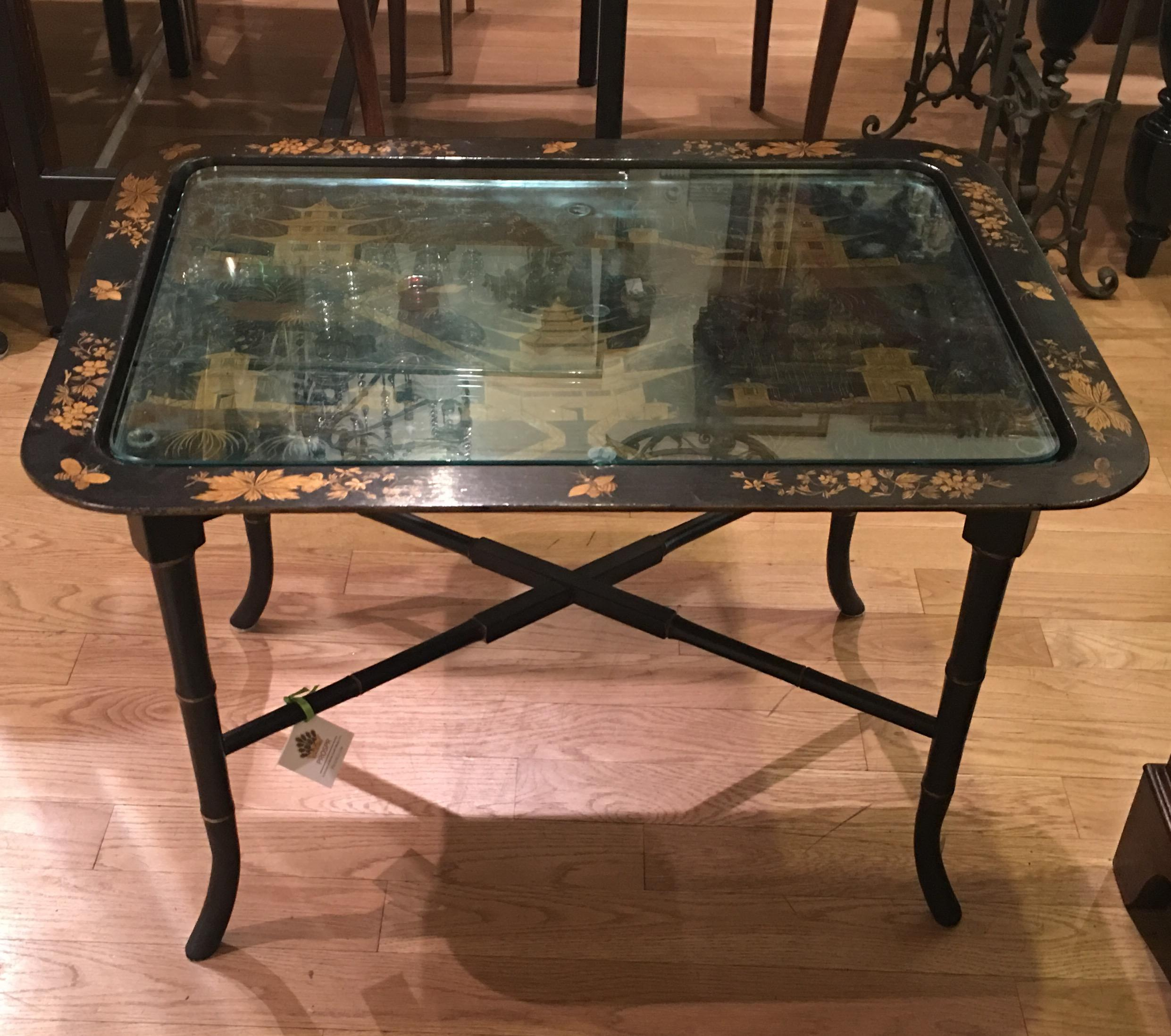Superieur Vintage Black Lacquer Chinoiserie Decorated End Or Coffee Table   Image 3  Of 6