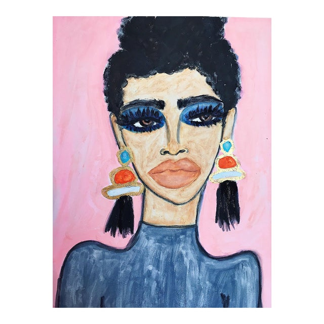 "2010s Figurative Original Acrylic Painting on Canvas, ""Lashes and Earrings"" by Kendra Dandy - Image 1 of 3"