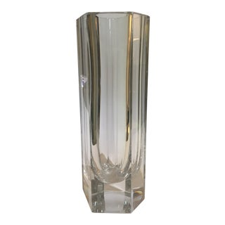 Art Deco Revival Heavy Baccarat Signed Column Form Vase For Sale