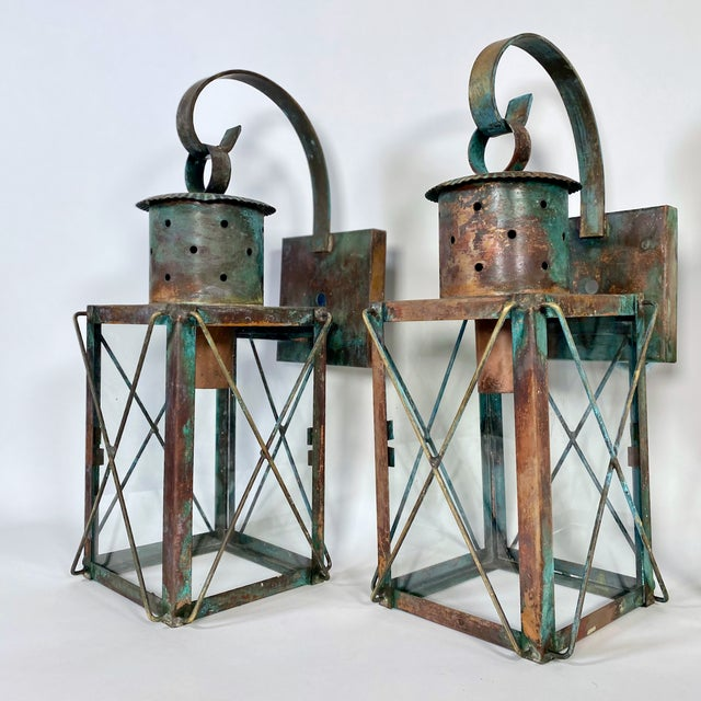 Solid Copper Custom-Made Outdoor Wall Lanterns by Genie House, Set of 4 For Sale - Image 9 of 13