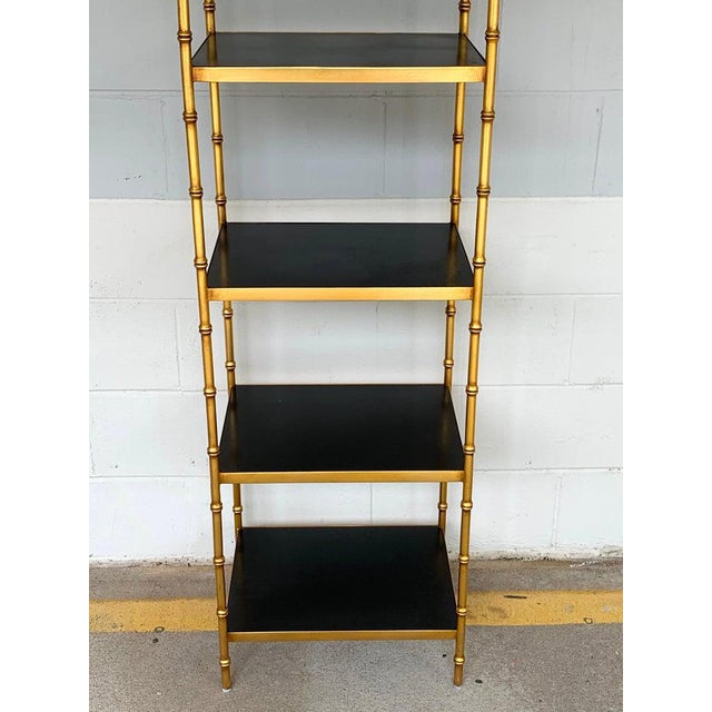 Gilt Metal & Lacquered Faux Bamboo Étagère in the Style of Maison Jansen For Sale - Image 9 of 10