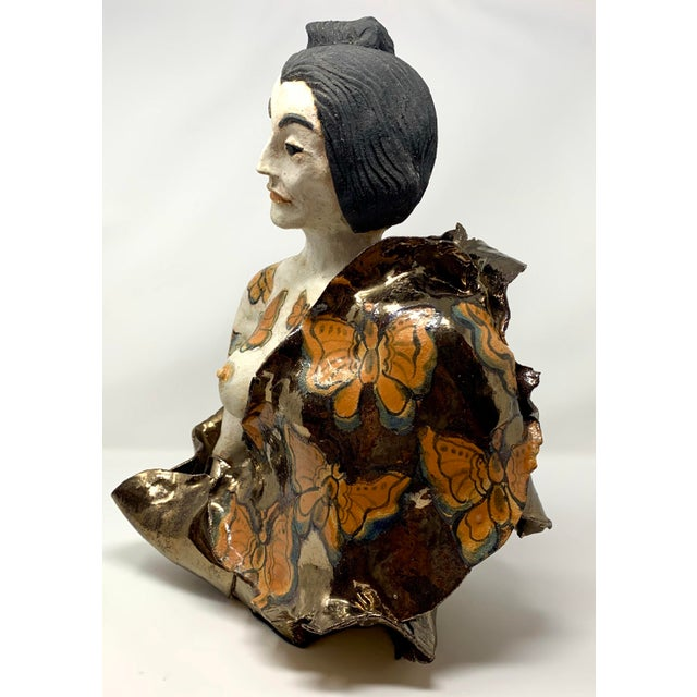 Orange Late 20th Century Theo Samuels Japanese Woman Sculpture For Sale - Image 8 of 13