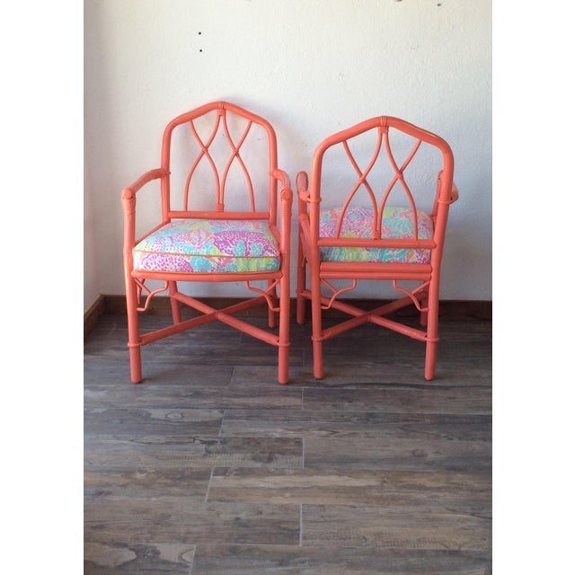 Asian Vintage Ficks Reed Coral Bamboo Rattan Armchairs - a Pair For Sale - Image 3 of 5