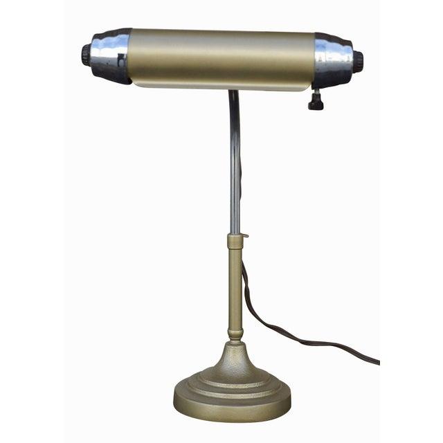 Enamel and Chromium Streamline Bankers Desk Lamp - Image 3 of 6