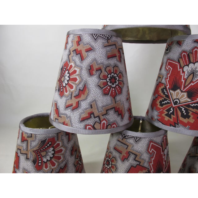 French Provincial Antique Red Floral Fabric Chandelier Shades - Set of 6 For Sale - Image 3 of 7