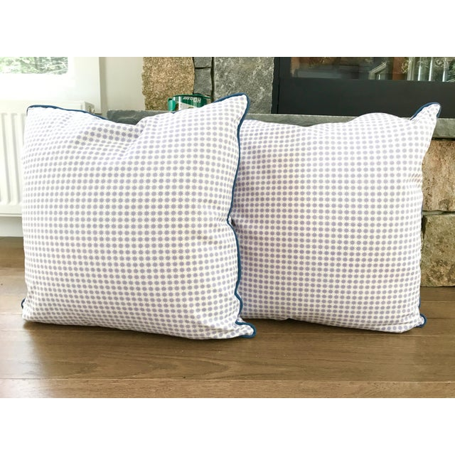 """Schumacher Country Custom Down-Filled Schumacher Pillows in """"Stella"""" - a Pair For Sale - Image 4 of 4"""
