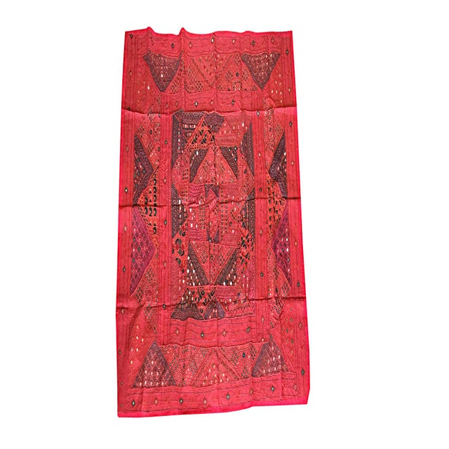 Mogul Indian Banjara Tapestry Hand Embroidered Wall Hanging Throw For Sale - Image 4 of 4