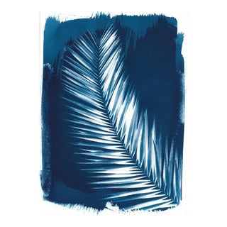 Palm Leaf, 4Cyanotype Print on Watercolor Paper, Limited Series, Handmade, A4 For Sale