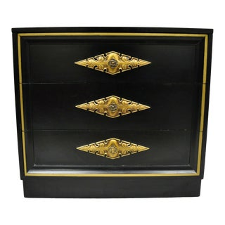 Vintage Dorothy Draper Style Black Lacquer 3 Drawer Chest of Drawers For Sale