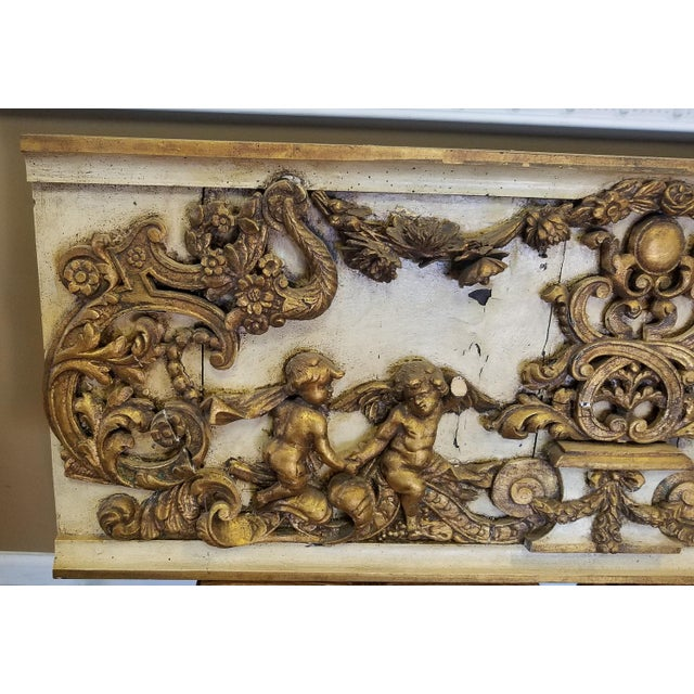 Antique Italian 19th Century Carved Wood Gilded Cherub Putti Panel - Image 3 of 11