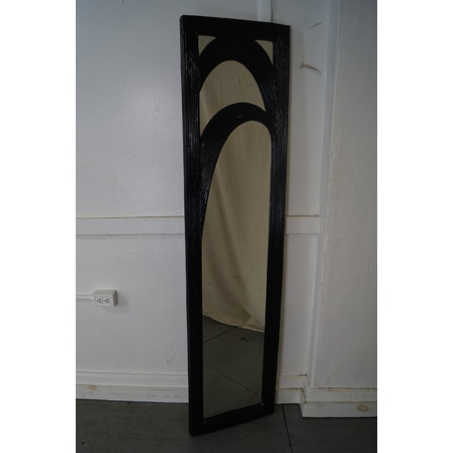 Mid-Century Black Painted Reeded Design Mirrors - A Pair For Sale - Image 9 of 10