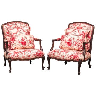 Louis XV Style Fauteuil Armchairs with Scalamandre Chinoiserie Toile - a Pair