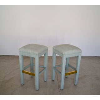 1970s Vintage Hollywood Regency Parsons Bar Stools - a Pair Preview